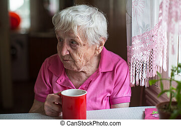 tea bögre, nő, kitchen., öregedő
