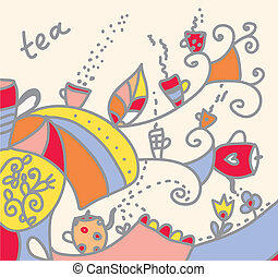 Tea background with cups and flowers funny design