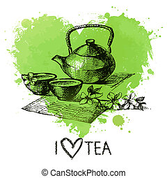Tea background with splash watercolor heart and sketch . Hand drawn illustration. Menu design