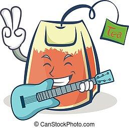 tea bag character cartoon vector art with guitar