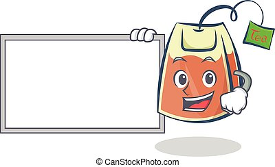 tea bag character cartoon with board