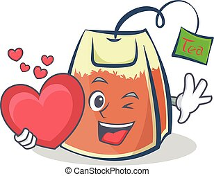 tea bag character cartoon with heart