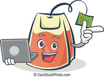 tea bag character cartoon with laptop