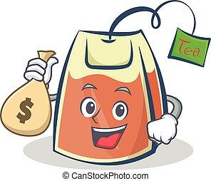 tea bag character cartoon with money bag