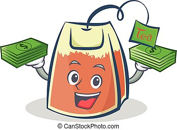 tea bag character cartoon with money