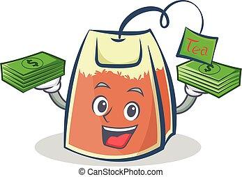 tea bag character cartoon with money