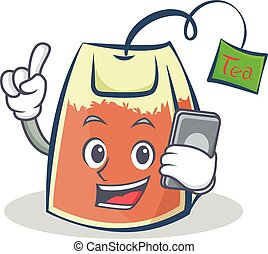 tea bag character cartoon with phone
