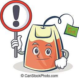 tea bag character cartoon with sign