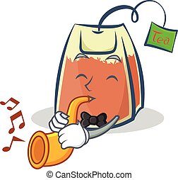 tea bag character cartoon with trumpet