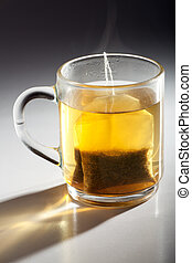 tea bag in a glass cup