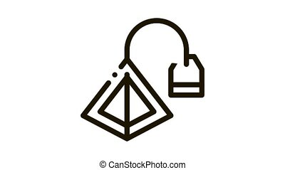 tea bag pyramids Icon Animation. black tea bag pyramids animated icon on white background