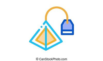 tea bag pyramids Icon Animation. color tea bag pyramids animated icon on white background