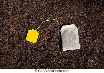 Tea bag with blank label