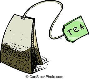 Tea bag with label. Hand drawing sketch vector illustration