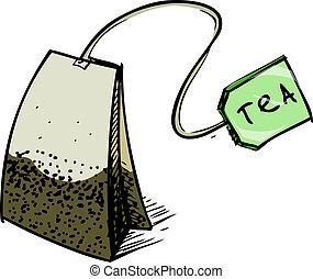 Tea bag with label. Hand drawing sketch vector illustration