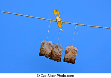 Tea Bags on the Rope in the Sun