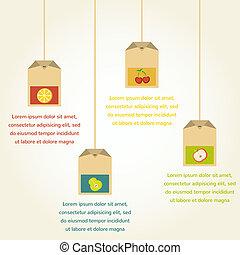 tea bags with fruit flavor , vector infographics
