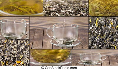 Tea being poured into glass tea cup, Green tea leaves close...