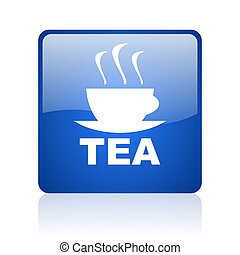 tea blue square glossy web icon on white background