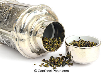 tea caddy with Tie Guanyin on the white background