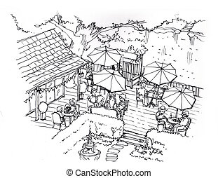 tea cafe, coffee shop in the garden illustration