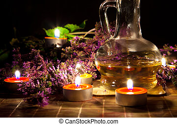 Tea candles, oil and lavender