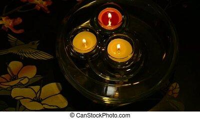 tea candles swimming