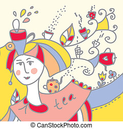 Tea card funny design with cups and girl