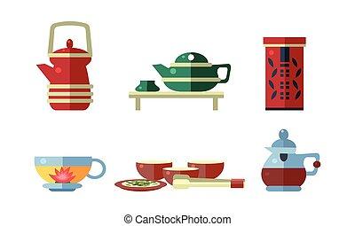 Tea ceremony accessories set, teapot, tea cups, vector Illustration