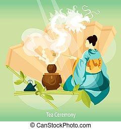Tea Ceremony Background. Tea Ceremony Vector Illustration. ...