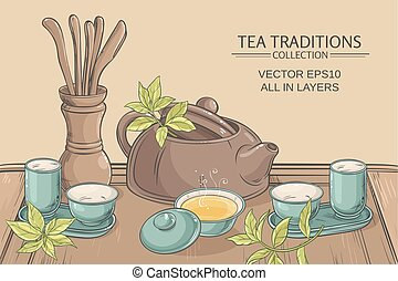 tea ceremony illustration - Tea table with teapot, tea...