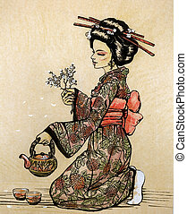 Tea ceremony in Japanese style: geisha with teapot and...