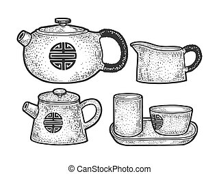 Tea ceremony set sketch engraving vector illustration. Asian culture ritualized form of making tea. T-shirt apparel print design. Scratch board style imitation. Black and white hand drawn image.
