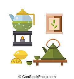 Tea ceremony traditional asian drink vector illustration.