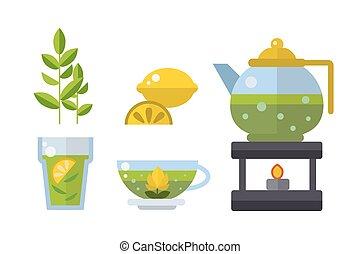 Tea ceremony traditional asian drink vector illustration.