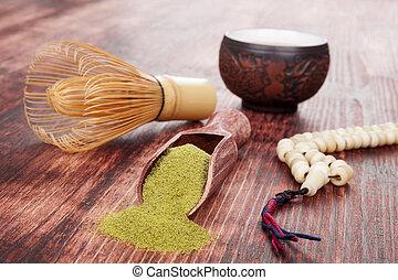 Tea ceremony. - Traditional tea ceremony. Powdered green tea...