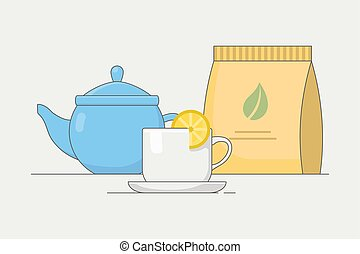 Tea ceremony vector illustration with teapot, cups, sweets, bakery.