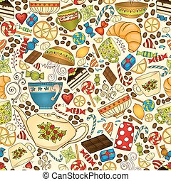 Tea, coffee and sweets seamless pattern.