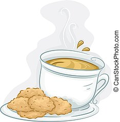 Tea Coffee Cookies - Illustration Featuring a Plate of...