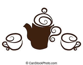 Tea, coffee cups collection Hand drawn Isolated on a white...