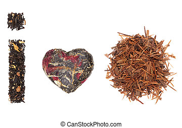 Black tea earl grey, dried green tea leaves and lapacho herbal tea isolated on white background, top view. Delicious tea drinking concept.