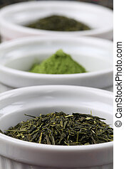 Tea collection - green tea - White bowls with various kinds...