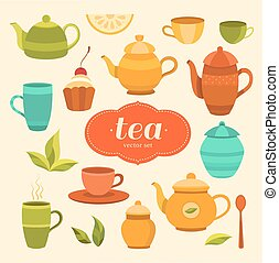Tea collection of vector elements