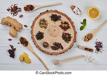 Tea composition on a wooden background.