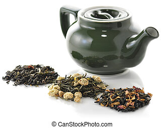 tea composition - teapot and variety of loose tea with ...