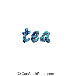 tea create by blue flowers white background