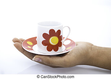 tea csésze, befolyás, alatt, kézbesít