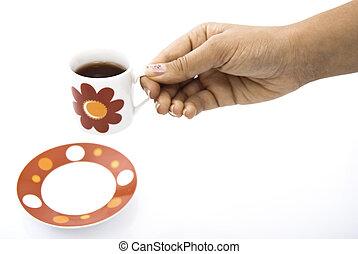 tea csésze, noha, piros virág