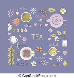 Tea culture background - Vector pastel background of ...