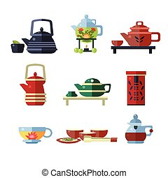 Tea Cup and Kettle Set. Flat Vector Illustration Collection